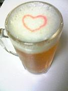 ビールの泡に描いた絵自慢♪