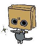 出刃包丁持った猫