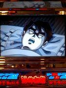 競技場で寝る人
