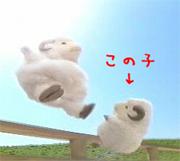 ウメッシュのCMの右側の羊LOVE