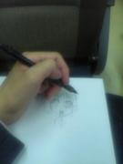 電車で絵描き。