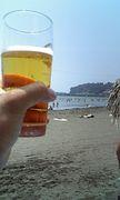 夏は朝から海でビール☆