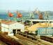 港のクレーンがキリンに見える。
