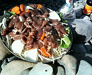 多摩川で肉祭り