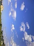 空、山、自然、街