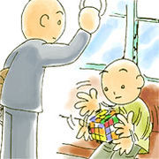 Rubik's Cubeやってる人目撃!