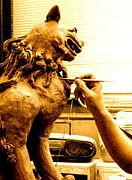 自作の獅子(狛犬・シーサー)