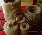 麻紐(麻ひも)で編み物knit