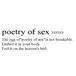 poetry of sex