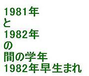 1982年の早生まれ