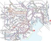電車路線図に印をつける。