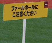 ファールボールにご注意下さい。